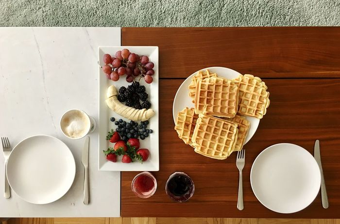 Brunch love Sweet Food Food And Drink Table Waffle Directly Above Indulgence Dessert Food Ready-to-eat Serving Size Freshness Fruit Temptation Breakfast Brunch Around The World Brunch Waffle High Angle View Be. Ready. Food Stories