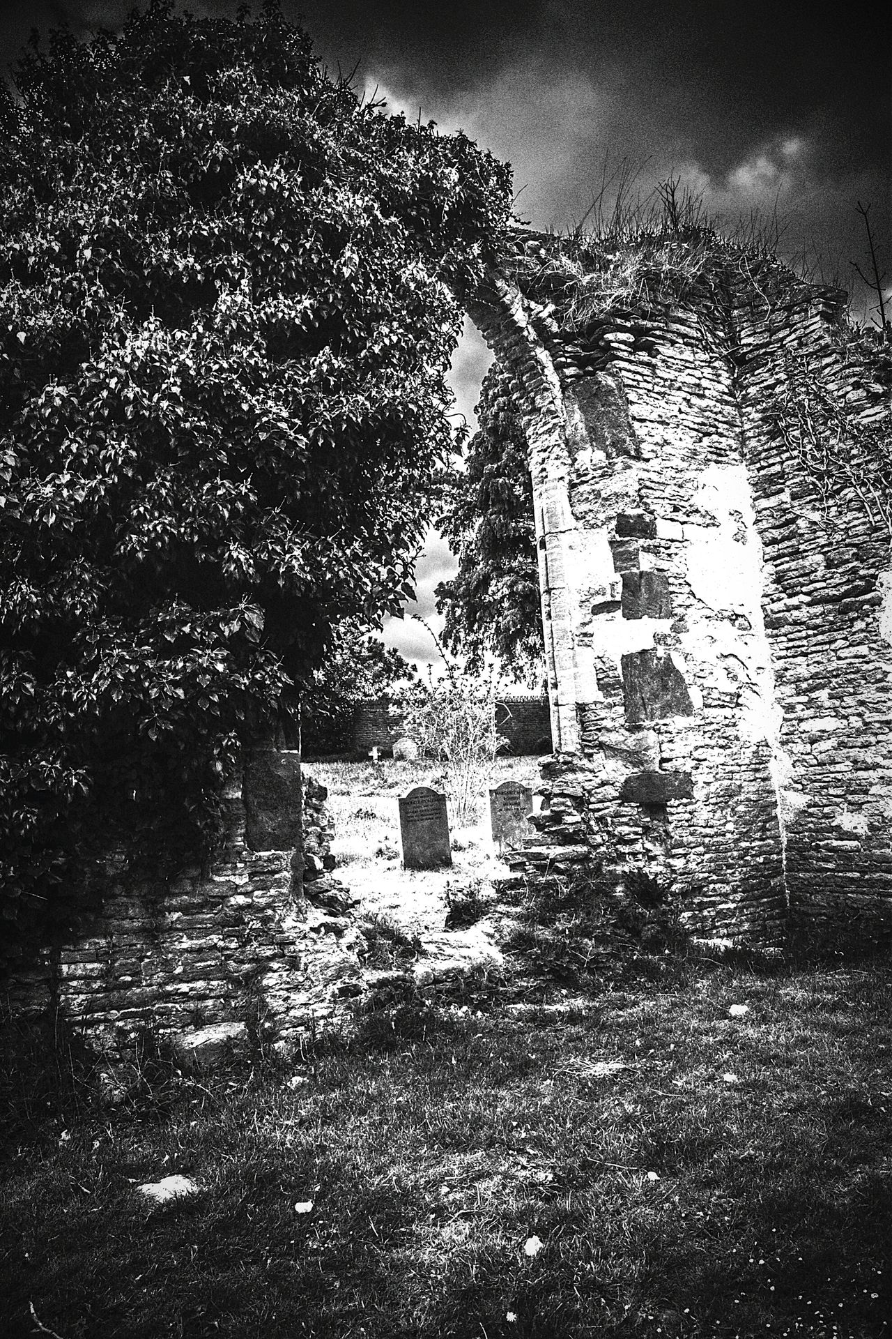 Ruins of St John's Old Church, Boughton, Northamptonshire. Blackandwhite Ruins Church Ruin Boughton Northamptonshire Archway Graveyard