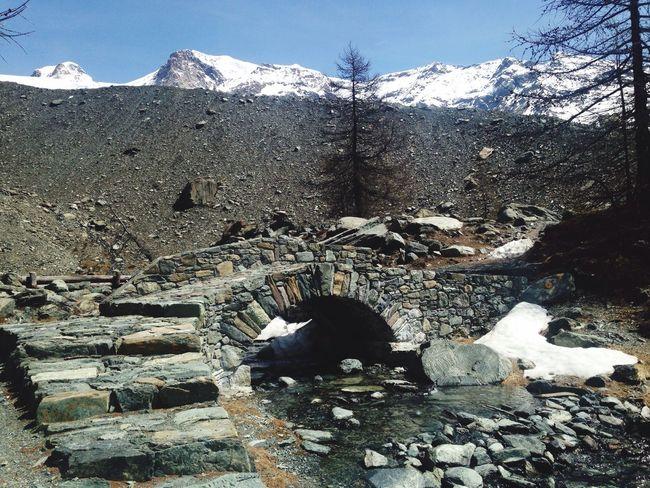 Beauty In Nature Ruins Alps No People Trekking Outdoors Mountain Tourism Bridge