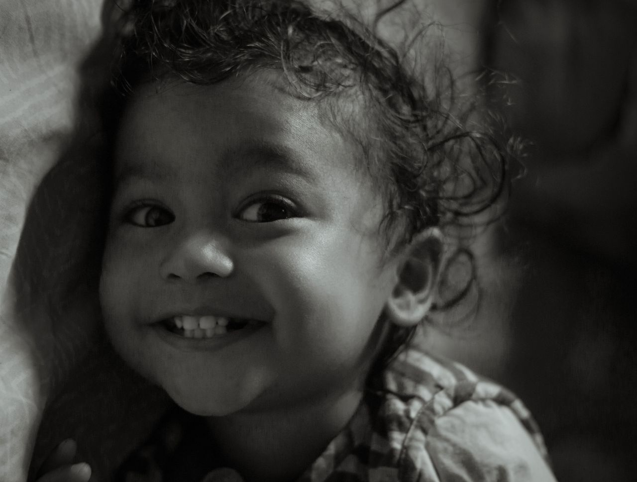 Headshot Indoors  Looking At Camera Cute Close-up Happiness People Smiling Cheerful Day Children Only Child One Person Innocence Portrait Baby Childhood Fine Art Photography Babies Only Blackandwhite EyeEm Best Shots Kids Being Kids Hairstyle Kid Indian