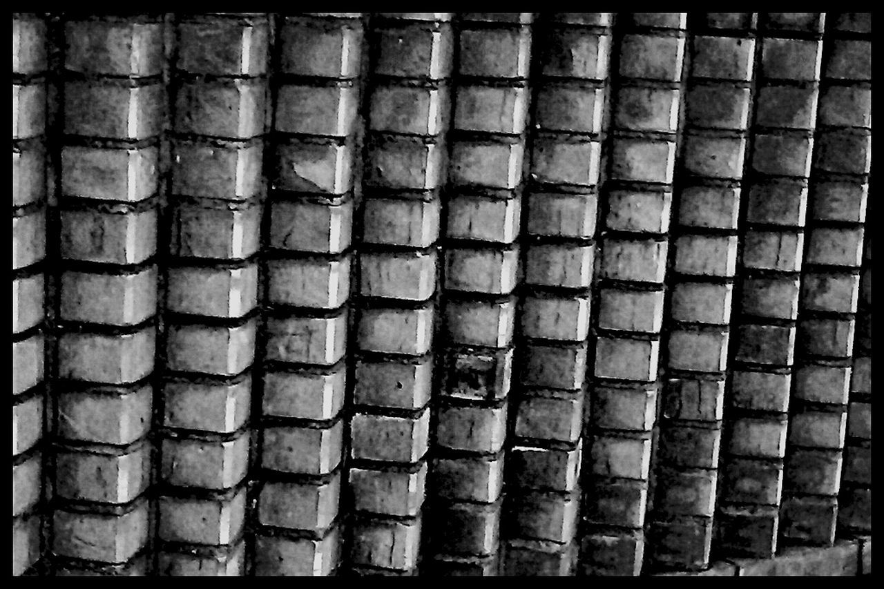 full frame, backgrounds, repetition, pattern, metal, no people, close-up, day, indoors