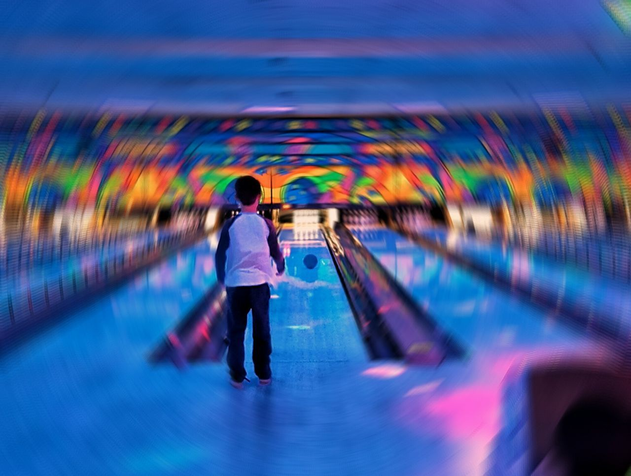 One Person Multi Colored Bowling Alley Bowling Psychedelic Illuminated