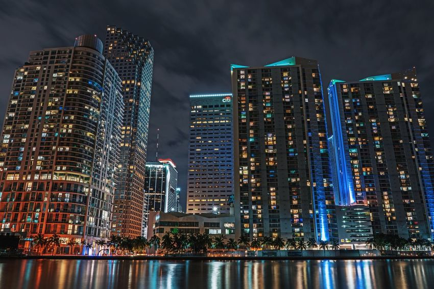 Miami nights 💫. City Cityscapes Architecture Architecture_collection Building Exterior Built Structure Building Nightphotography Night Urban Urban Geometry Urban Landscape Sky And Clouds Skyporn Buildings Architecture Landscape Landscape_photography Landscape_Collection Sky_collection Clouds And Sky Reflection Reflections Long Exposure Water