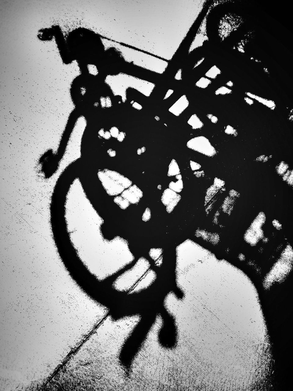 shadow, bicycle, high angle view, sunlight, focus on shadow, day, silhouette, outdoors, no people, nature, close-up