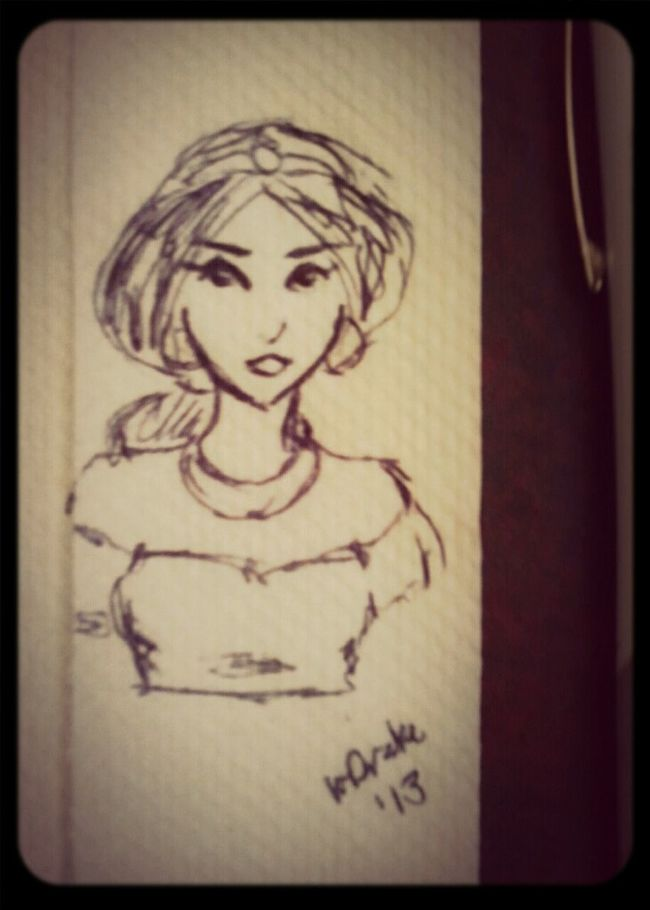 Napkin Doodle. Jasmine.