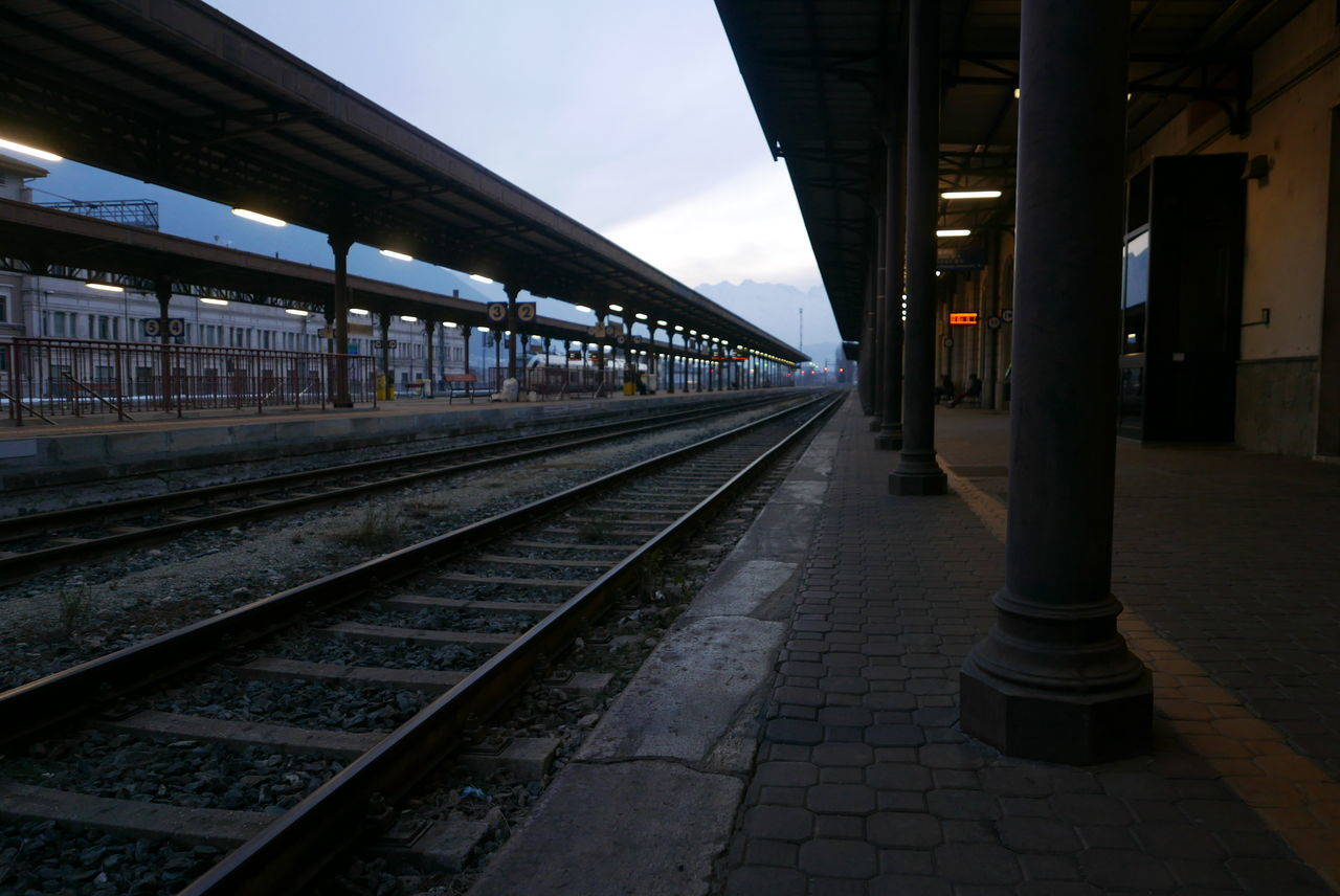 Connection Diminishing Perspective Long Perspective Public Transportation Rail Transportation Railing Railroad Station Railroad Station Platform Railroad Track Transportation Vanishing Point At Dusk No People Empty Absence Aosta Italy Railway Platform Railway Station
