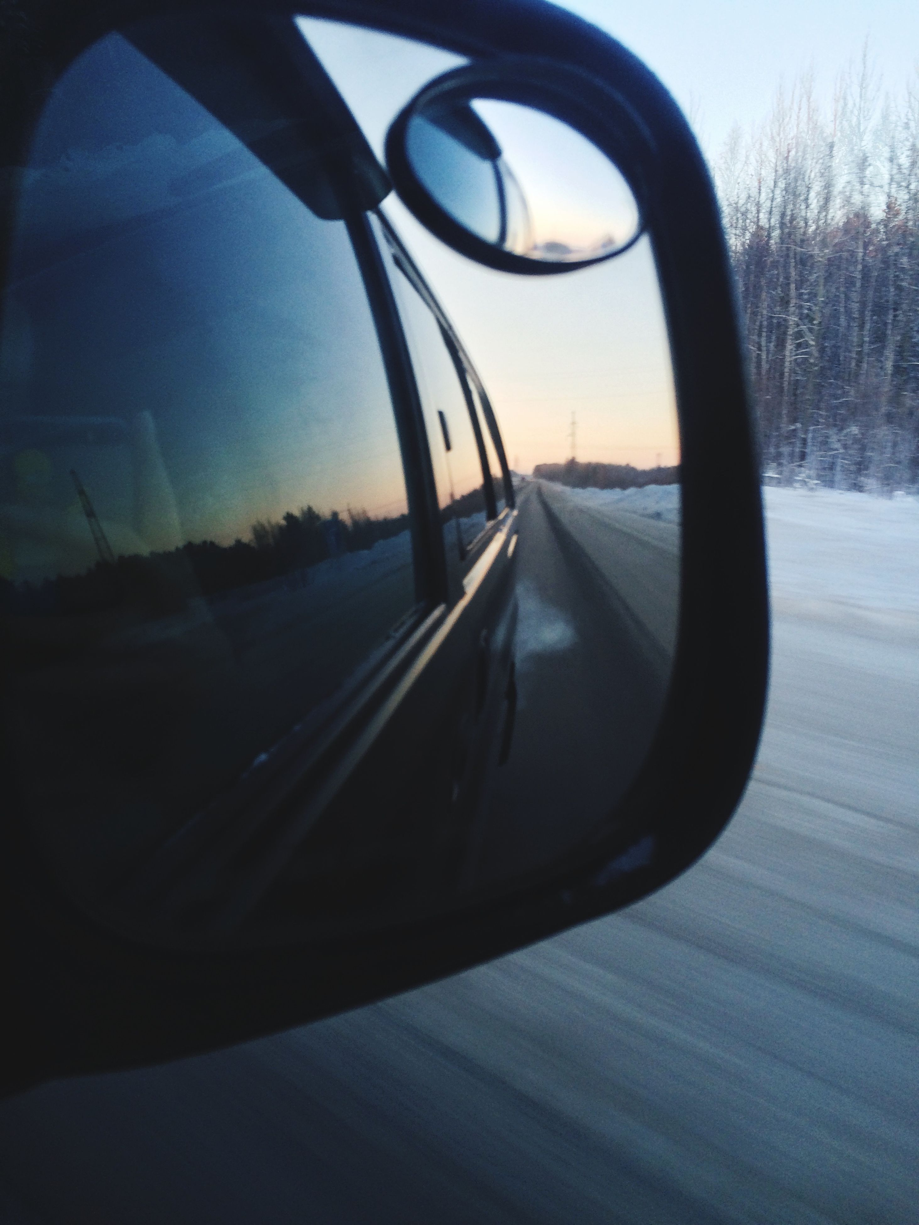 transportation, snow, bare tree, mode of transport, winter, road, cold temperature, car, sky, land vehicle, reflection, tree, close-up, side-view mirror, part of, season, street, no people, auto post production filter, sunlight