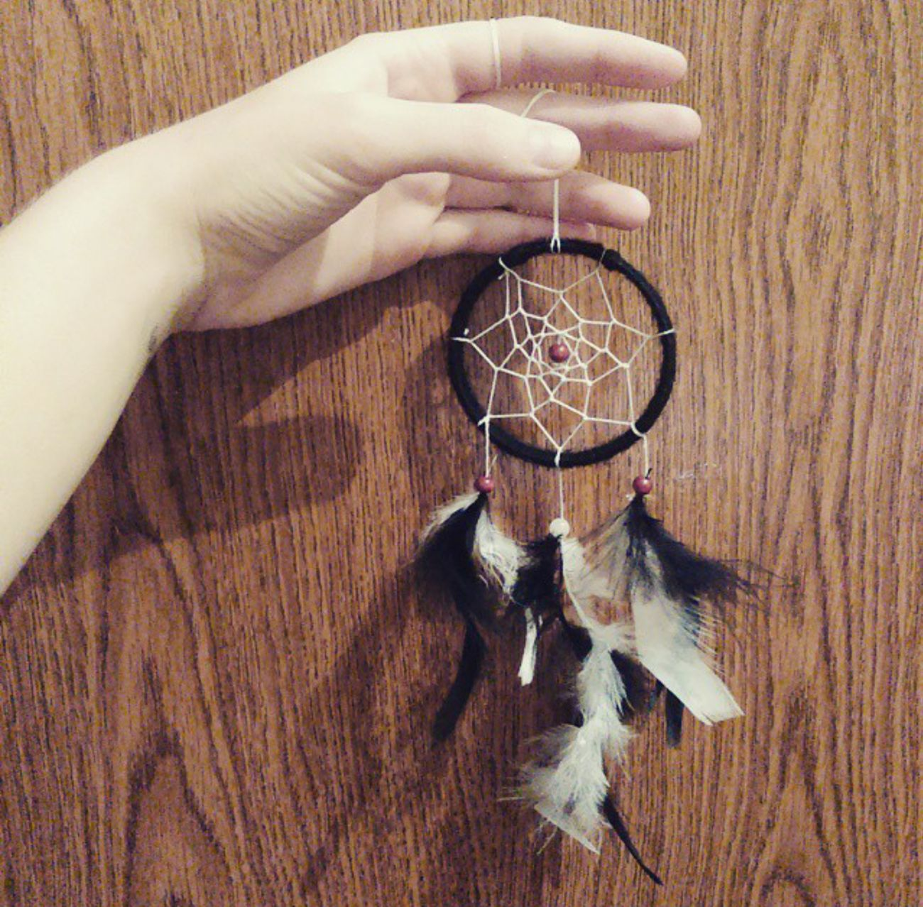 I made my first lil dreamcatcheeer! :3 Dreamcatcher Art Hobby Fun Energy Dream Dreams Peace Preciousstones Made By Me Handmade Love Perfect Pretty Beautiful Fashion Beauty Happy Me