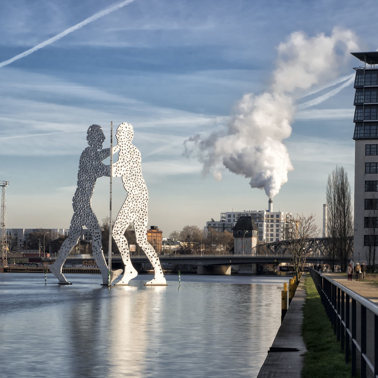 Architecture City Day Dramatic Sky Molecule Man No People Outdoors Reflection Reflections River Sky Smoke - Physical Structure Spree Urban Urban Landscape Water Capture Berlin