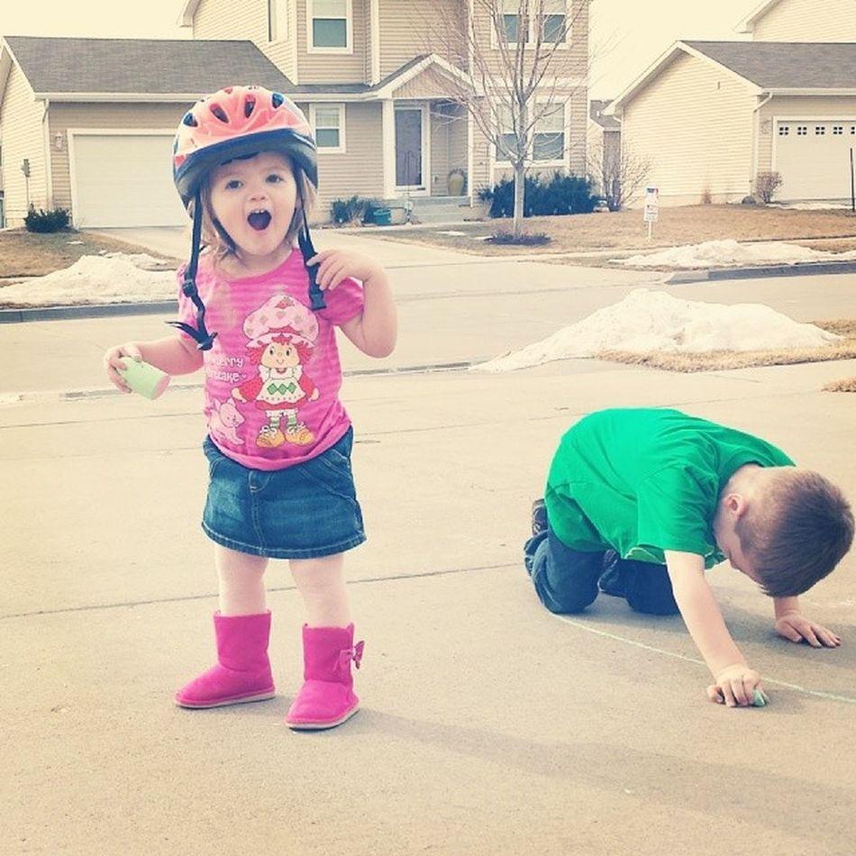 Rocking big brother's bike helmet Lovehome Lovethisweather