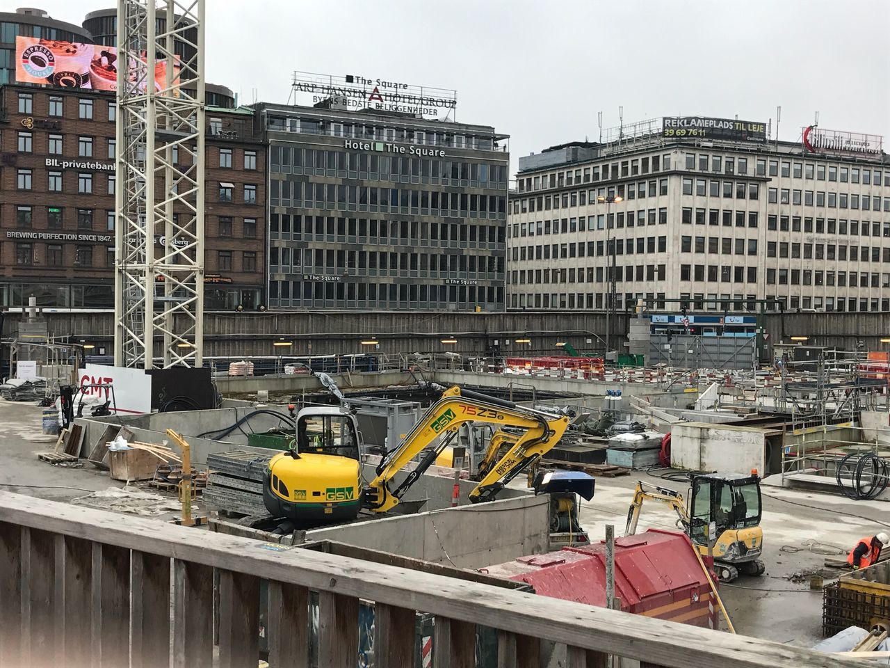 Danish construction workers, opposite Tivoli Building Exterior Architecture Built Structure City Construction Site Incomplete Transportation Land Vehicle Outdoors Development Day Construction No People Construction Vehicle Sky