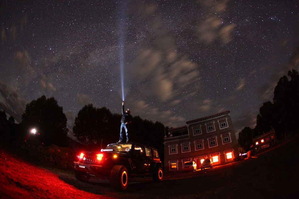 Flashlight Jeep Long Exposure Off-road Vehicle Star - Space Star Field Travel Wrangler