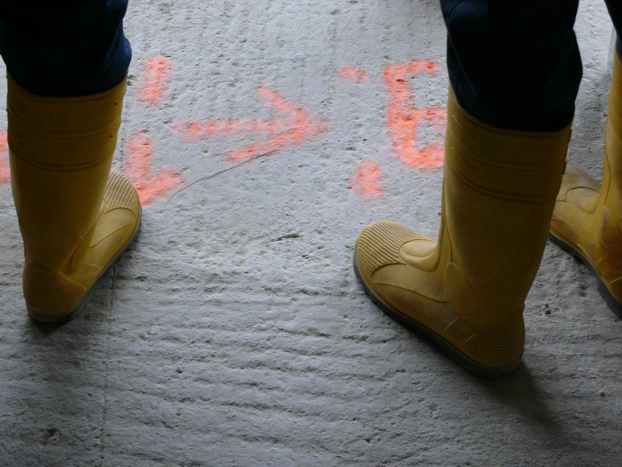 Concrete Construction Site Elbphilharmonie Hamburg Letters Marking Red Rubber Boots Yellow