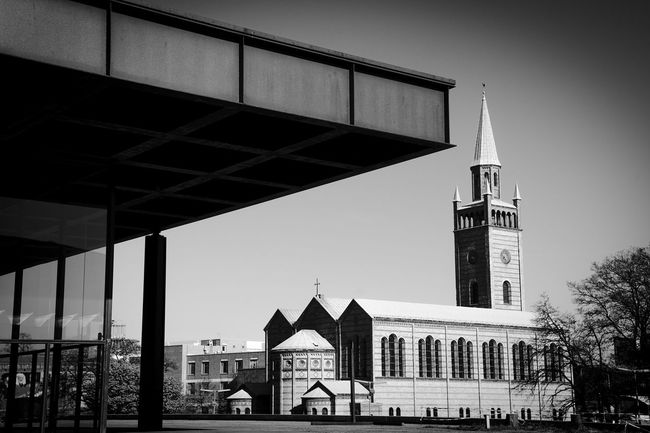 old and new ... Architecture Berlin Black And White Building Building Exterior Built Structure Church City Day Exterior Façade House Modern Neue Nationalgalerie Nikolaikirche Old Residential Structure Roof Tiergarten Window