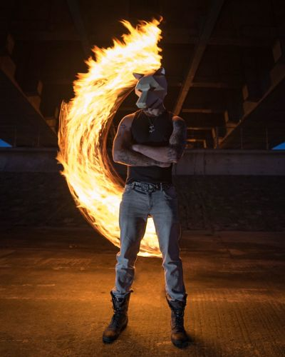 Night One Person Real People Men Full Length Motion Performance Illuminated Danger Circle Leisure Activity Arts Culture And Entertainment One Man Only Standing Flame RISK Burning Dancer Speed Lifestyles