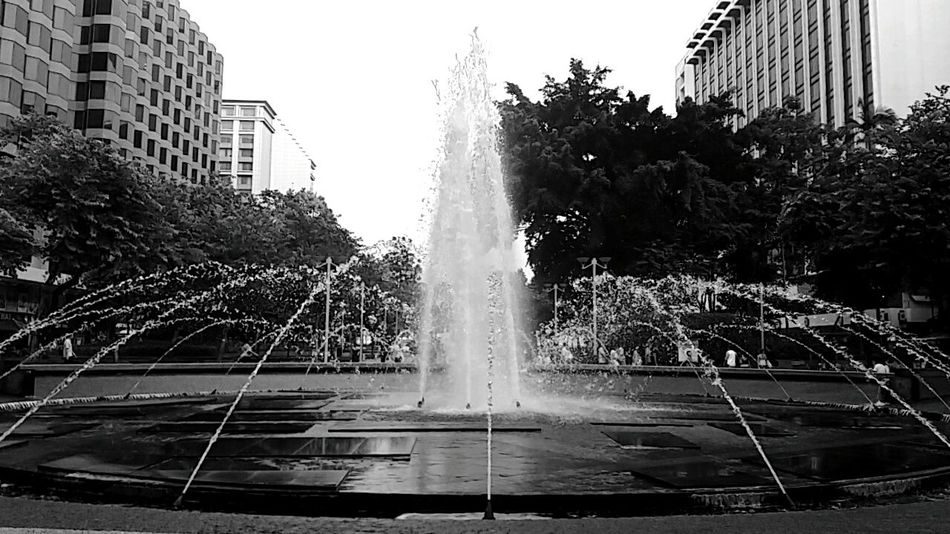 Reflection Water Tree Architecture Outdoors Sky Fountain Black & White - Centre Hong Kong