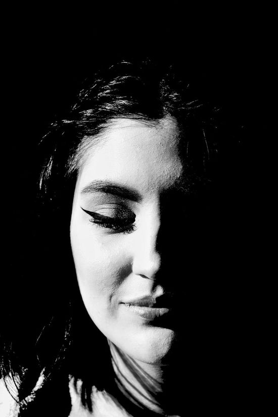 The Bright Side - One Person Only Women One Woman Only Black Background Human Face Close-up Portrait Beauty Eyes Closed  Headshot Studio Shot Bnw_collection Bnw_life Bnw_society Bnw_demand Shadow Portrait 365 Portraitmood Monochrome _ Collection Monochrome_life