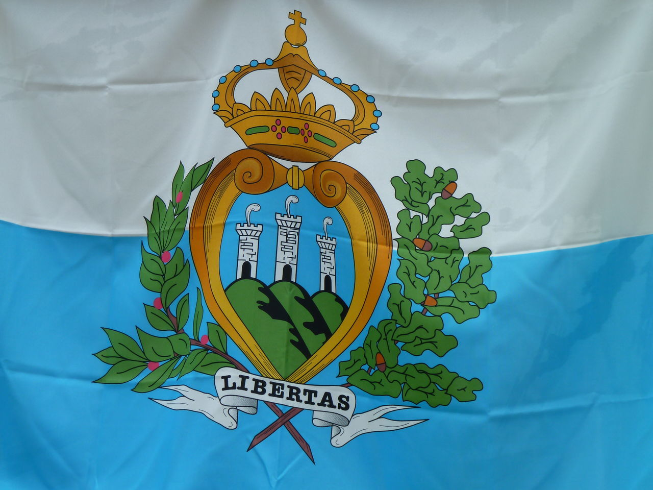 San Marino Flag Close-up Communication Day Flag Leaf Multi Colored No People Outdoors Sky Text