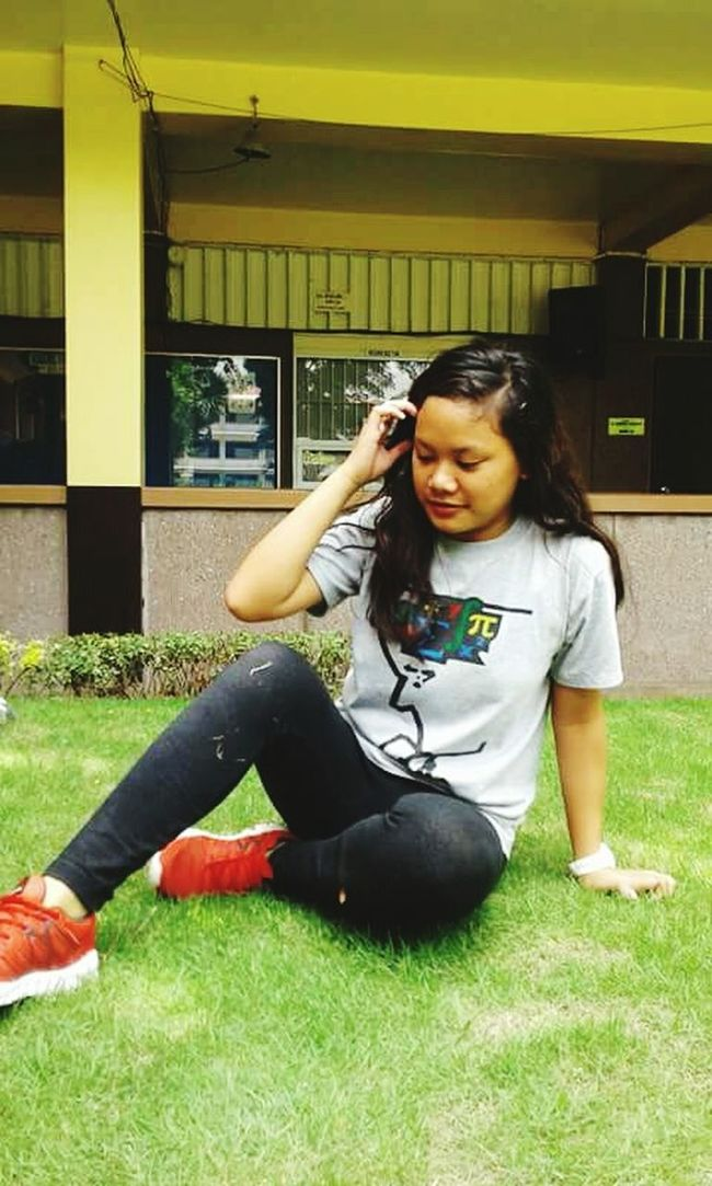 Leisure Activity Full Length Young Adult Young Women Grass Casual Clothing Lifestyles Person Smiling Architecture Built Structure Happiness Building Exterior Long Hair Looking At Camera Green Color Beauty Person Day Philippines Photos Headshot Green Color Adorable Cheerful Love