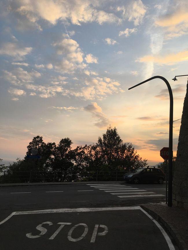 Ventimiglia Alta. Street Light Nofilter Road Stop Street Sky Tranquil Scene Cloud - Sky