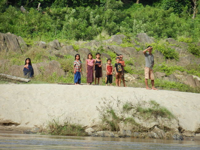 ASIA Bagpacking Trip Boattrip Day Landscape Laos Mekong River Mountain Nature Non-urban Scene Outdoors People Watching Sand Togetherness Tranquil Scene Tranquility Wilderness