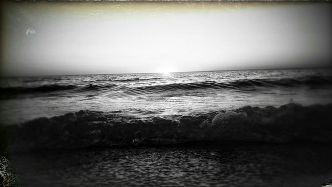 Sunset At The Beach Edithvale Black&white