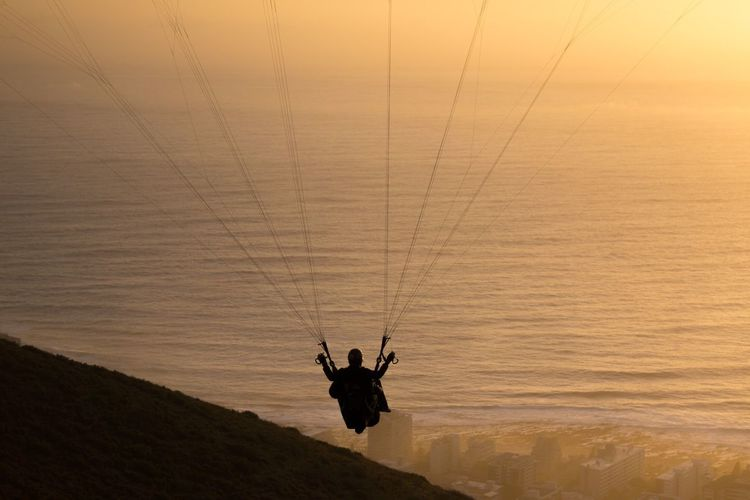 Done That. Sunset Real People Silhouette Leisure Activity One Person Adventure Men Extreme Sports Lifestyles Nature Outdoors Sport Sky One Man Only Day Paragliding Adult People Be. Ready.