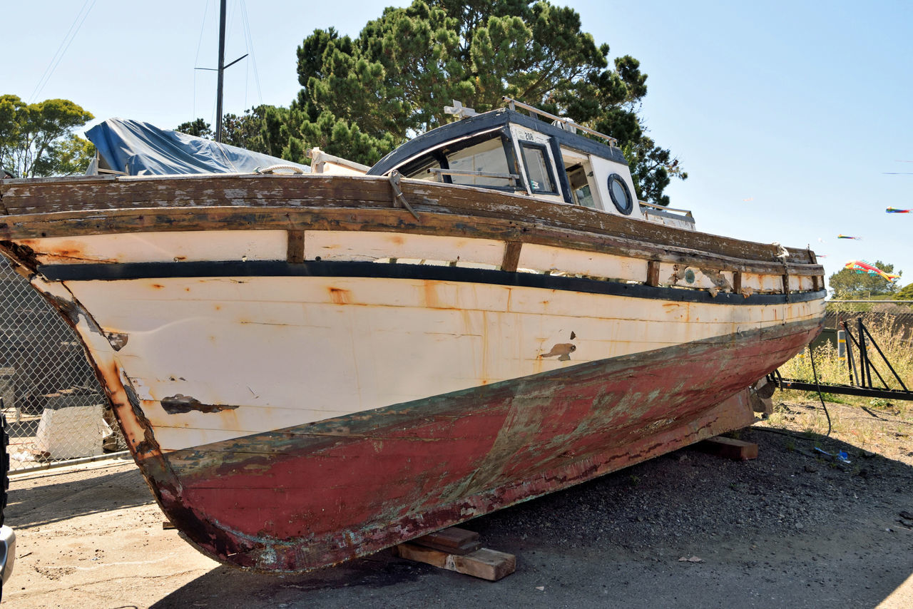 Rust Bucket @ Berkeley Marine Center 2 Antique Trawler Waiting For Restoration Boatyard Boats Fishing Trawler Boat Repairs And Restoration Not Quite Ready For Water Custom Yacht Builder Marina OCSC Sailing School