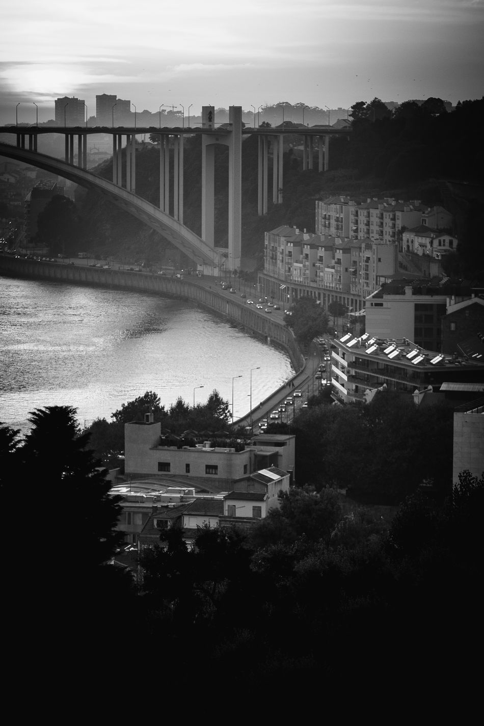 Half a bridge Architecture Bridge - Man Made Structure Building Exterior Built Structure City Cityscape Day House Modern Monochrome Photography No People Outdoors River Sky Travel Travel Destinations Tree Urban Skyline Vertical Water