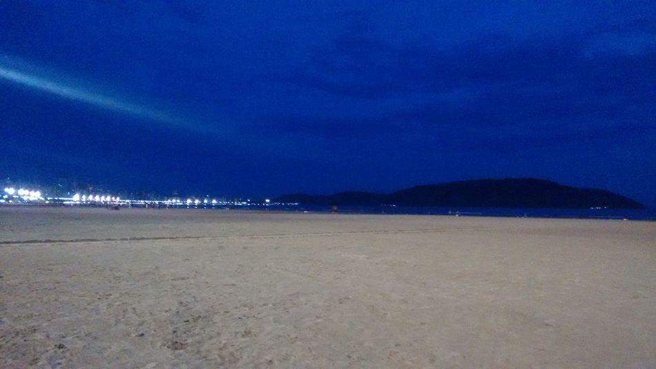 Praia,gonzaga,mar,azul, Beach Sea Sand Scenics Sky Nature Tranquility Water Coastline Outdoors Beauty In Nature Tranquil Scene No People Night Horizon Over Water Sand Dune