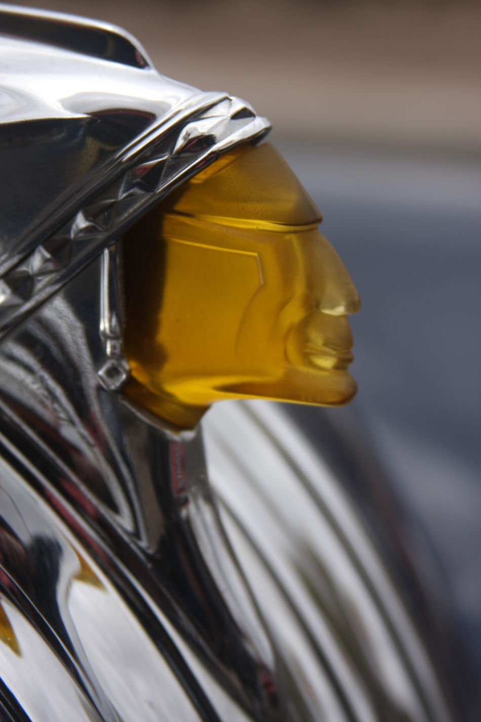 Close-up Hood Ornament Indian Head No People Outdoors Pontiac Yellow
