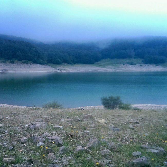 Gray day Lagopaduli Lagastrello Lake Mist gray water autumn appennino fog lanscape melancholy panorama haze ghostlike