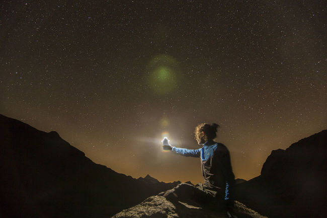 Adventure Camping Exploration Glowing Majestic Men Mountain Nature Night Outdoors Scenics Sky Star - Space Star Field Starry Night Starry Sky Stars Torch Torchlight Tranquil Scene Vacations