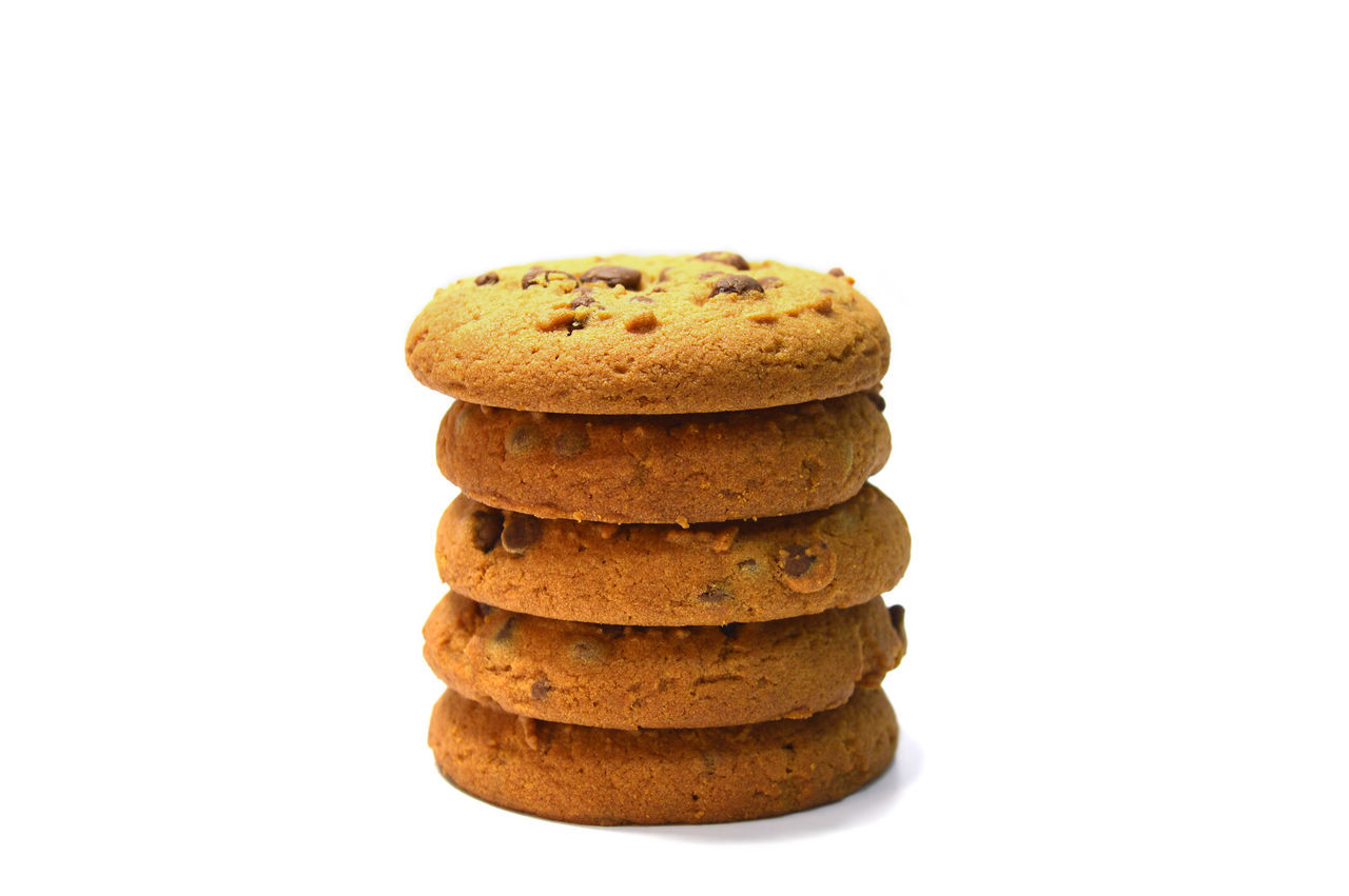 Chocolate chips cookies isolated on white Bake Baked Pastry Item Biscuit Breakfast Brown Calories Close-up Cookies Delicious Dessert Dessert Food Food And Drink Fresh Freshness Handmade Muffin No People Snack Stack Studio Shot Sweet Food Temptation Unhealthy Eating White Background