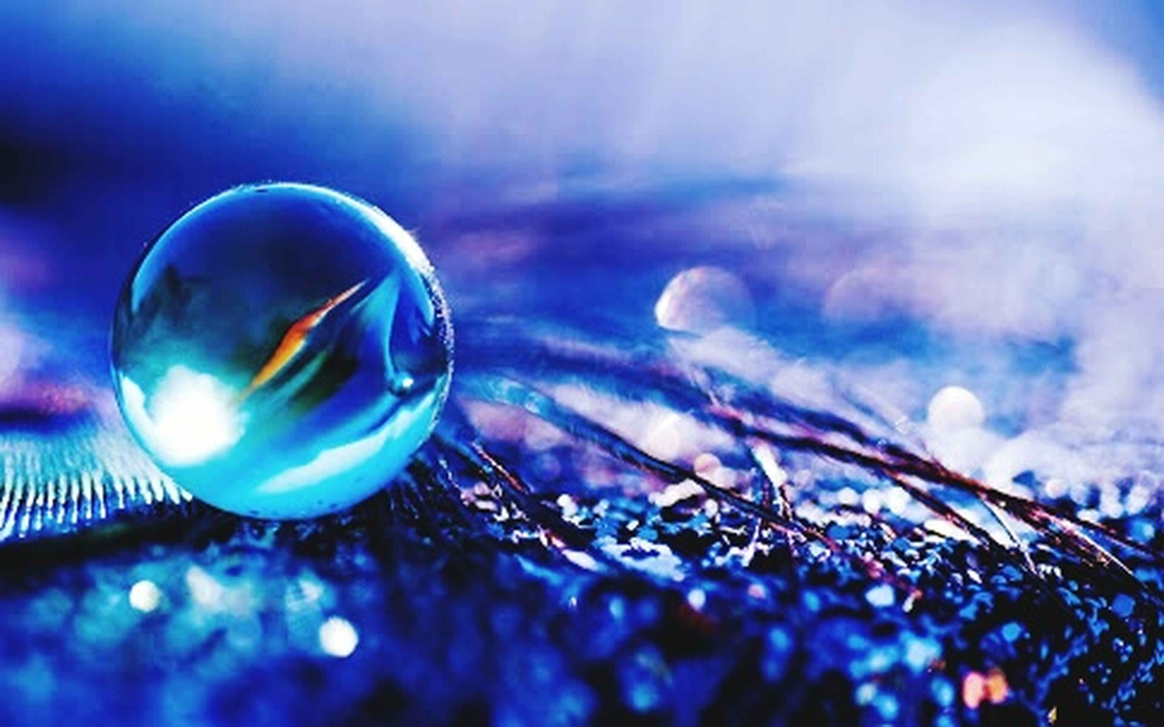 sphere, close-up, bubble, focus on foreground, transparent, fragility, selective focus, mid-air, glass - material, blue, circle, shiny, reflection, ball, lens flare, no people, nature, beauty in nature, outdoors, sky