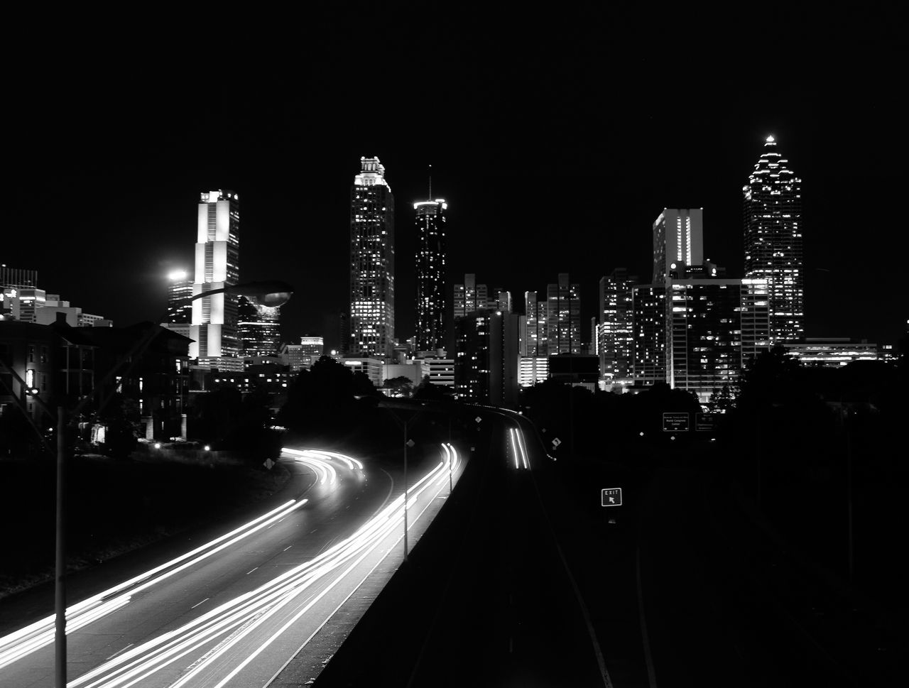 Skyline Black And White Weloveatl Atlanta Cities At Night