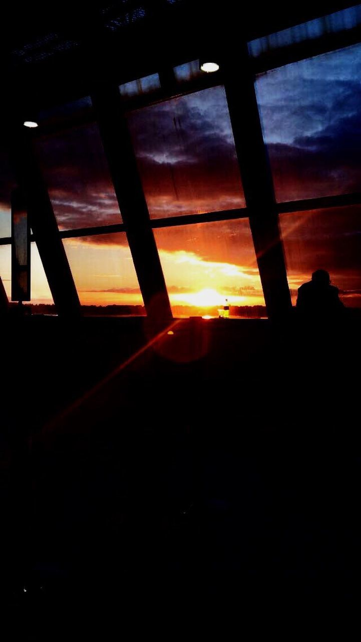 sunset, silhouette, orange color, sky, nature, indoors, no people, scenics, beauty in nature, day