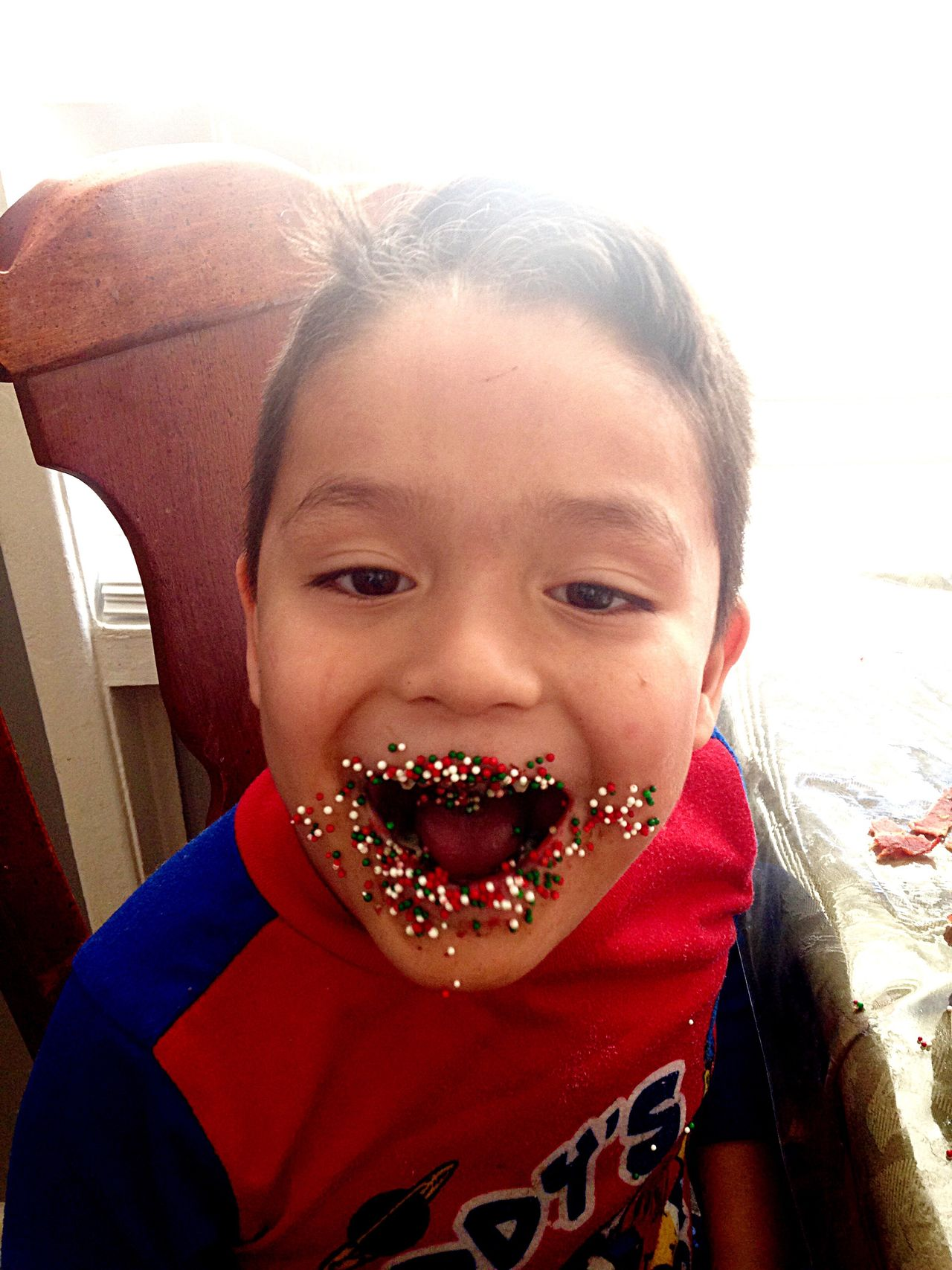 Candy mouth Looking At Camera Portrait Front View One Person Real People Childhood Girls Cheerful Close-up Day Indoors  People Gap Toothed Candy Candy Moments Sprinkles Boy Child Smile Childhood Memories Pajamas Breakfast Joy EyeEmNewHere EyeEmNewHere