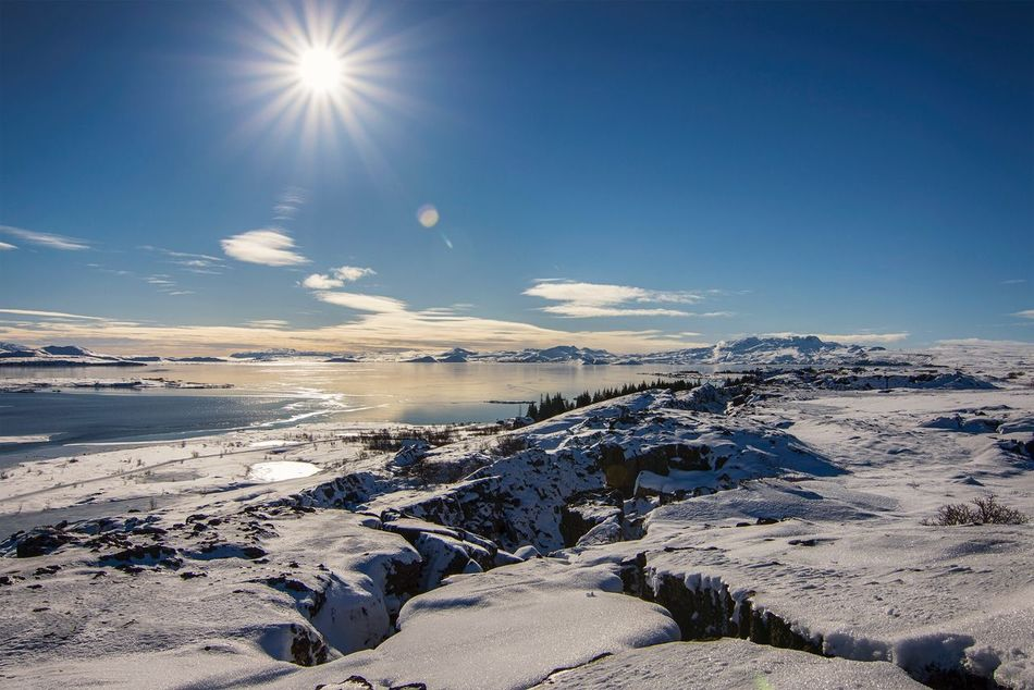 Cold Temperature Snow Winter Nature Beauty In Nature Ice Sky Frozen Sun Iceland Thingvellir National Park Iceland_collection Blue Scenics Tranquility Sunlight No People Tranquil Scene Landscape Day Cold Frozen Lake
