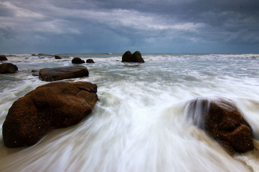Sea Beach Rock - Object Wave Cloud - Sky Landscape Day Nature Sky Outdoors No People Beauty In Nature Horizon Over Water Water