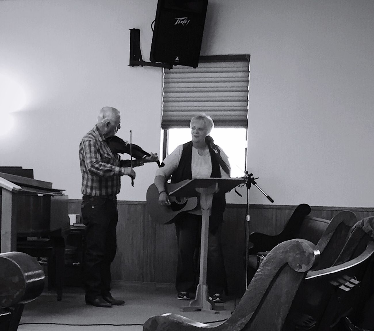 """The Fiddler and The Guitar Player"" An unusual duo performs a traditional gospel song using the classic instrument's of fiddle and guitar. Fiddle Fiddler Guitar Guitarist Gospel Music Duo Music Country Living Smalltown Black And White Blackandwhite Blackandwhite Photography"
