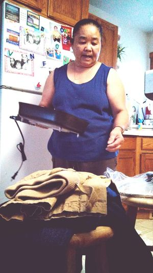 My cute little grandma getting cooking pans and a warm blanket, plus my $60 watch I got her! <3
