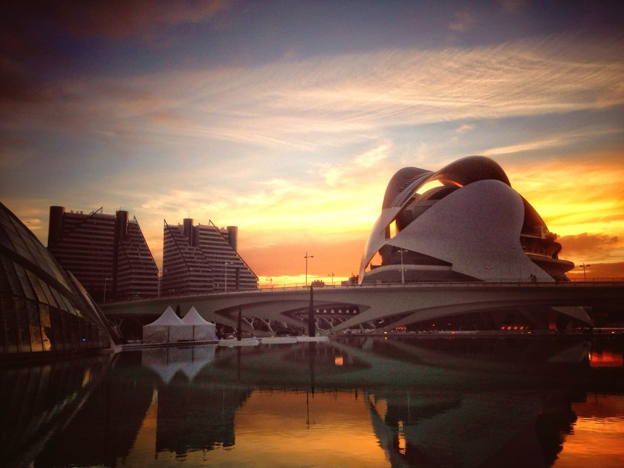 Looking towards The Opera House in Valencia, Spain. Sunset Sky Water Cloud - Sky Built Structure Building Exterior Architecture Outdoors Nature No People Beauty In Nature Day Valencia, Spain Opera House Twilight Dusk Sundown