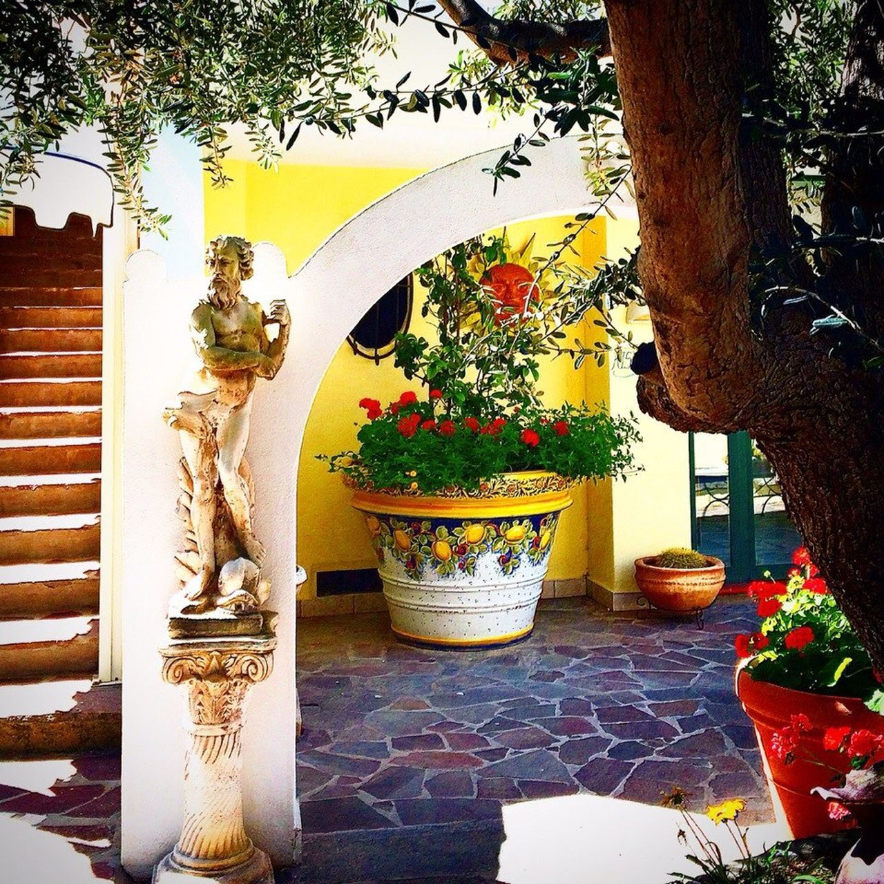 Statue Tree No People Indoors  Close-up Day Hotel Hot Day Stairs Napoli Italy Ischia Tranquility Backgrounds Built Structure Yard