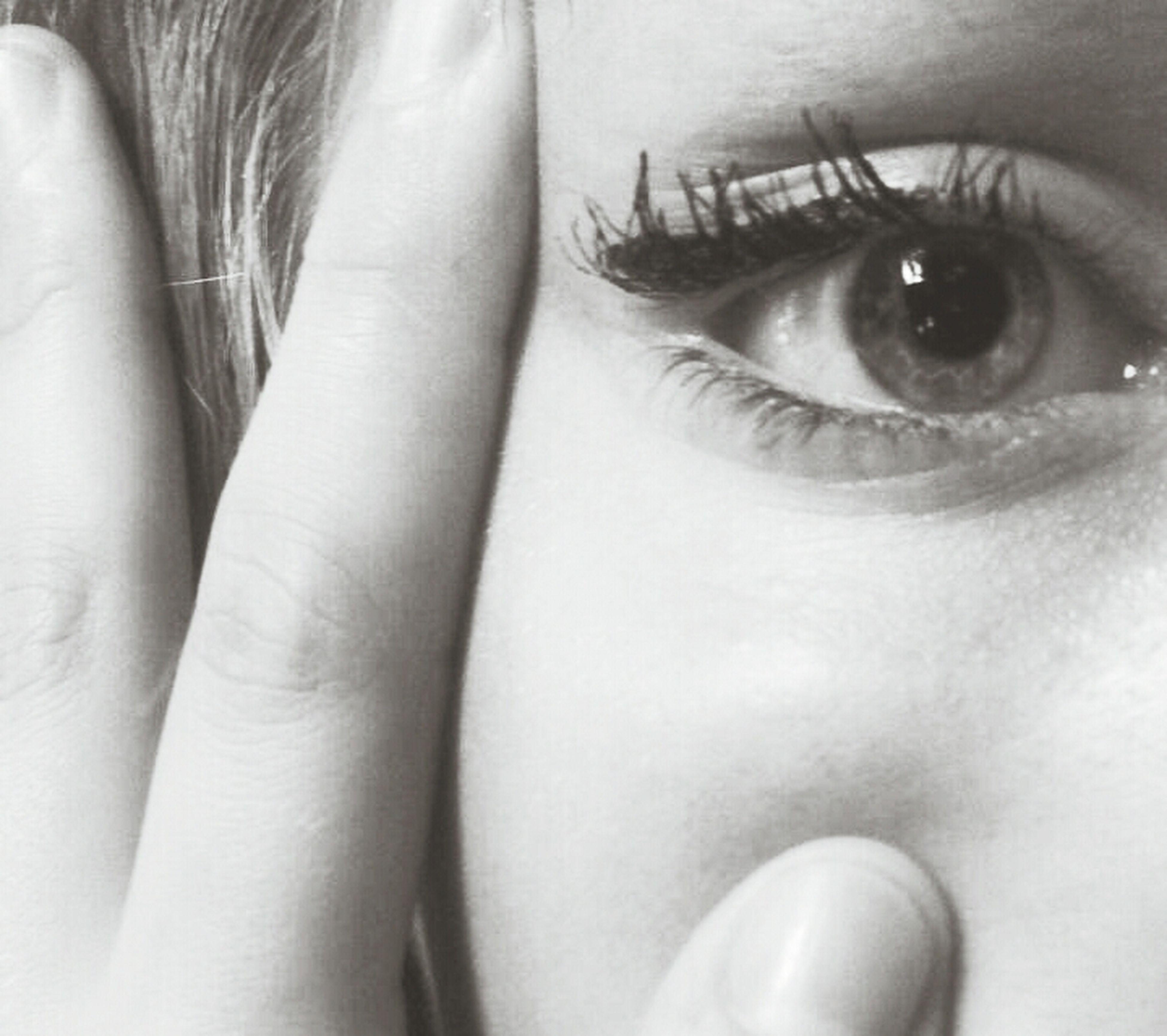 indoors, close-up, part of, human eye, lifestyles, person, human skin, human face, cropped, eyesight, young adult, eyelash, headshot, leisure activity, human finger, looking at camera