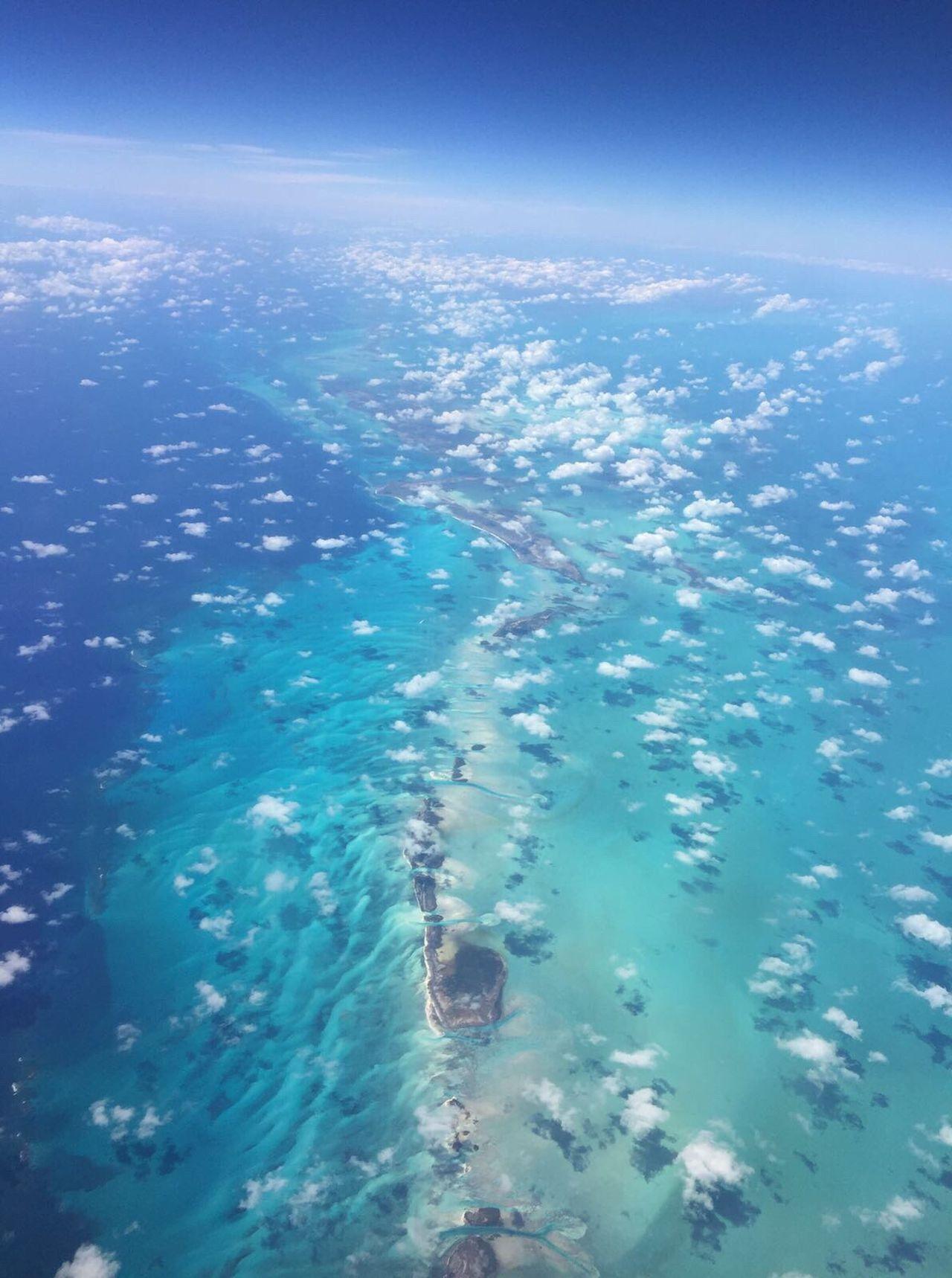 Celestial view, Flying over the Bahama s Sky Sky And Clouds Azureblue Azure Sky Azure Seas