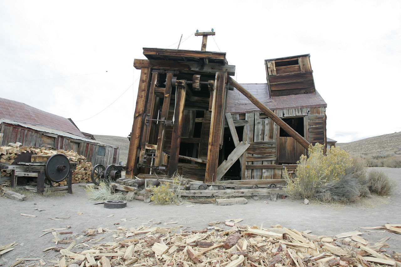 This is the gold mining structure at ghost town of Bodie. The support beam is necessary on all standing structures because of the high wind factor at 2550 meters elevation. Abandoned Places Animals Architecture Built Structure Day Deterioration Mining Mountain Nature No People Old Outdoors Run-down Sky The Old West The Past The Past Times