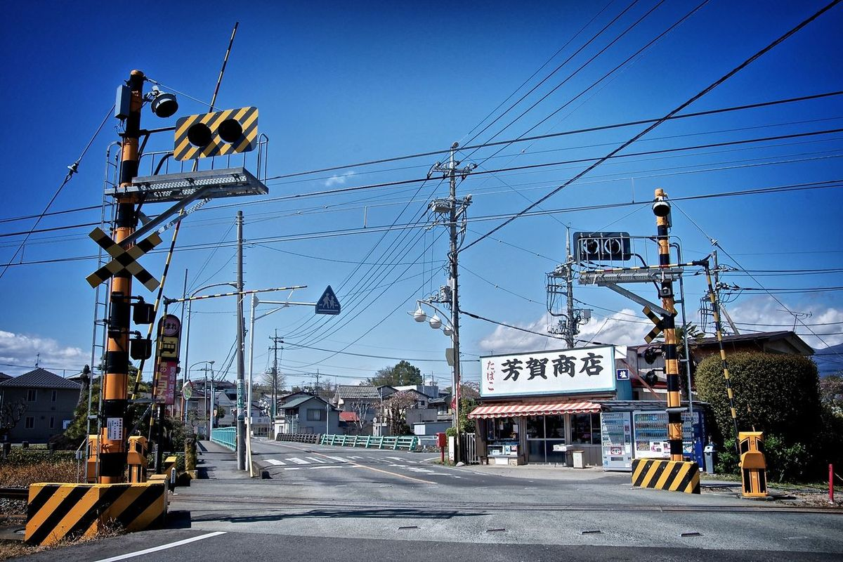 Blue Cable Grade Crossing Level Crossing Power Cable Road Striped Pattern Town Japan