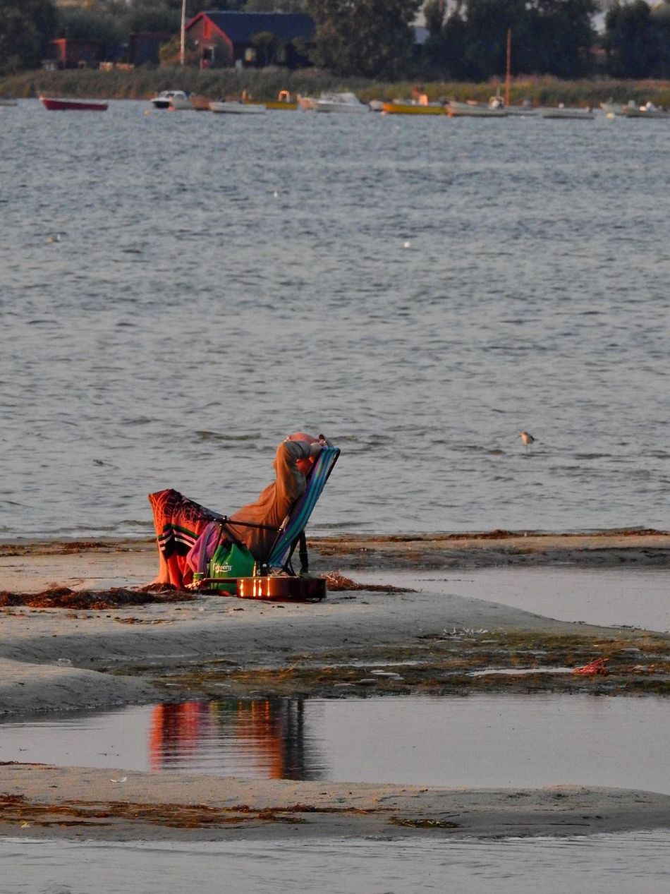 Hanging Out Check This Out Relaxing Enjoying Life Sunchair Man Reflection Sandbank Sea Dusk Sunset_collection Sunset Chilling Skåne Sweden