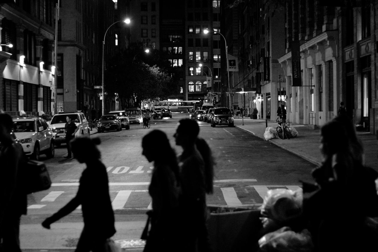 street, night, city, architecture, walking, building exterior, road, built structure, illuminated, outdoors, people